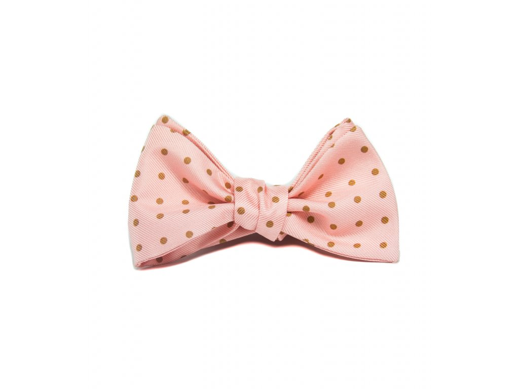 11225 Růžový hedvábný motýlek s puntíky