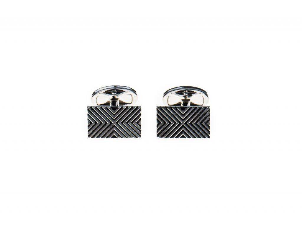 Manžetové knoflíčky obdélníkové stříbrné s geometrickým vzorem