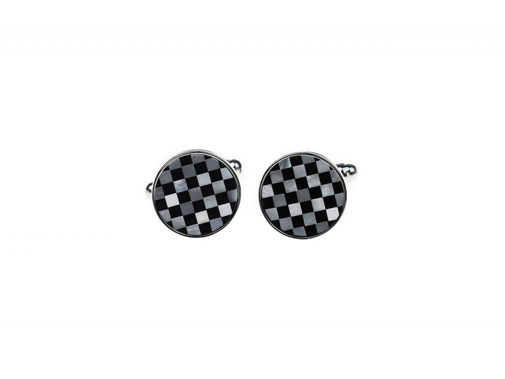 Manžetové knoflíčky kulaté perleťová šachovnice