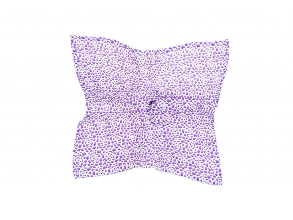Bílý kapesníček s fialovými květy