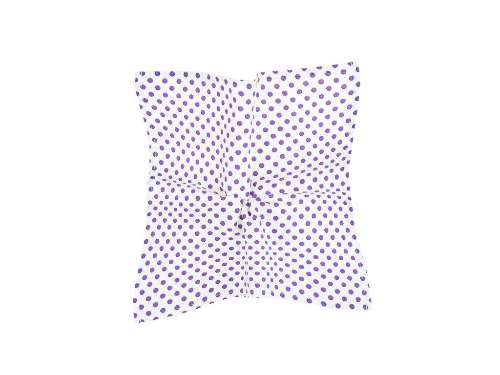 Bílý kapesníček s fialovými puntíky