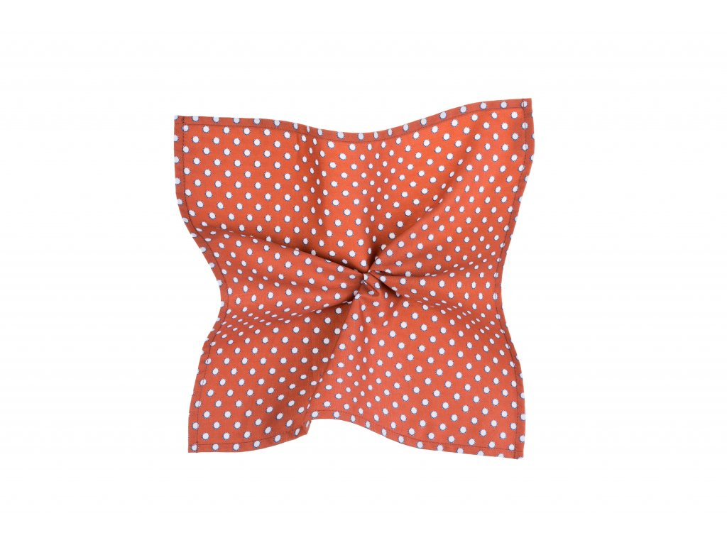 Oranžový kapesníček se světle šedými puntíky