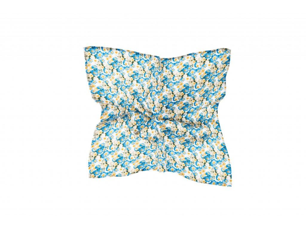 Bílý kapesníček s modro-béžovým květinovým vzorem