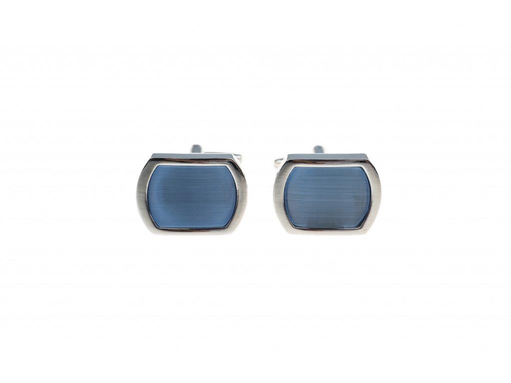 Obdélníkové manžetové knoflíčky zaoblené se světle modrým vnitřkem