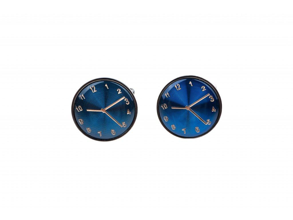 Manžetové knoflíčky hodiny modré
