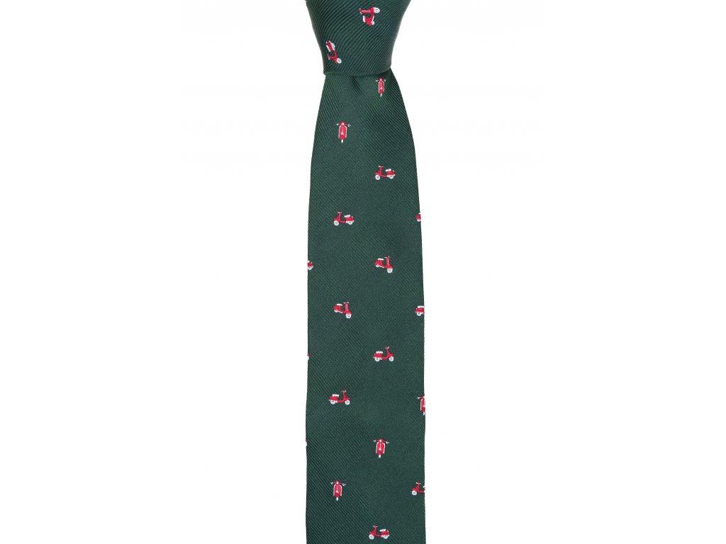 Tmavě zelená kravata s vespami