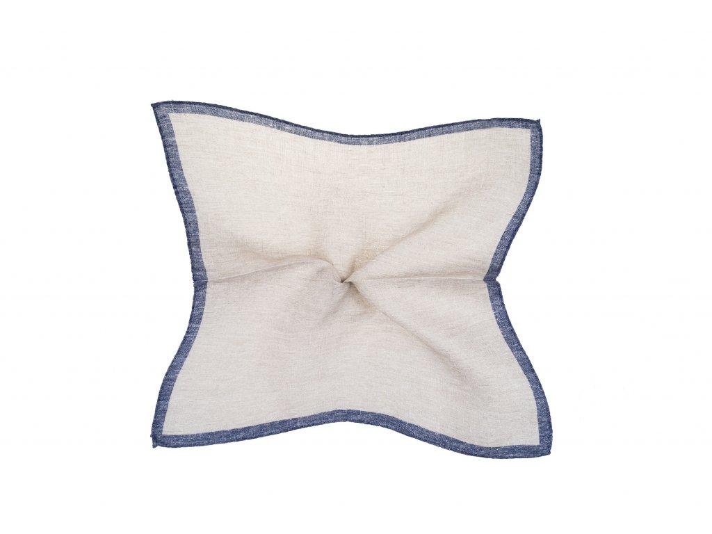 Béžový kapesníček s modrým okrajem
