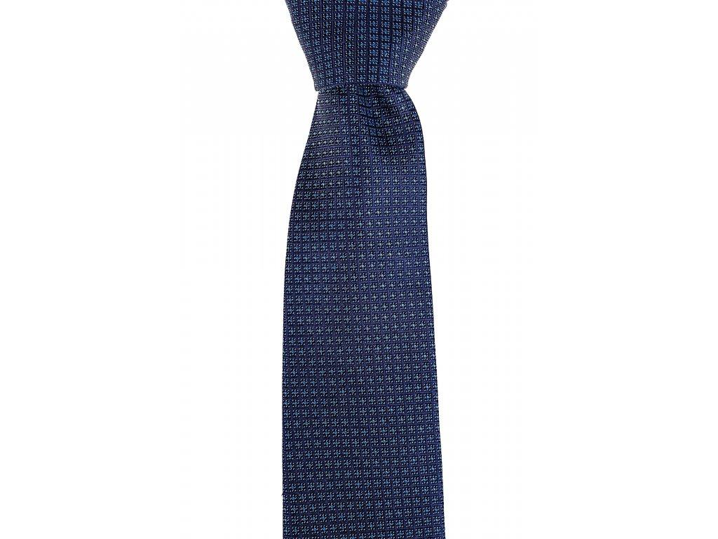 Tmavě modrá vzorovaná kravata