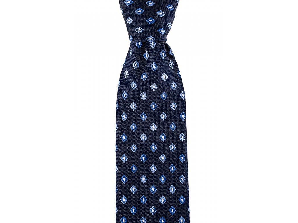 Tmavě modrá kravata s květy