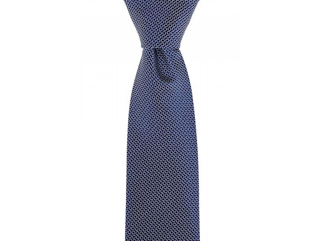 Tmavě modrá kravata s bílými kolečky