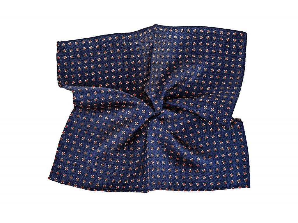 Tmavě modrý kapesníček s tečkami