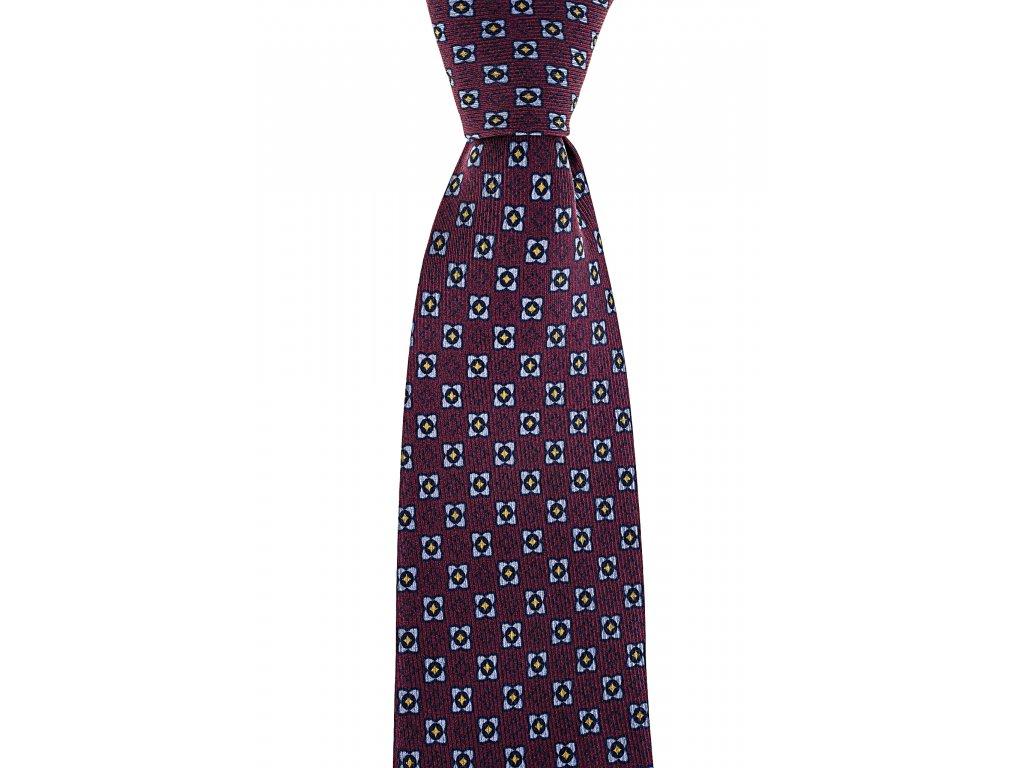Vínová twin kravata s barevným vzorem