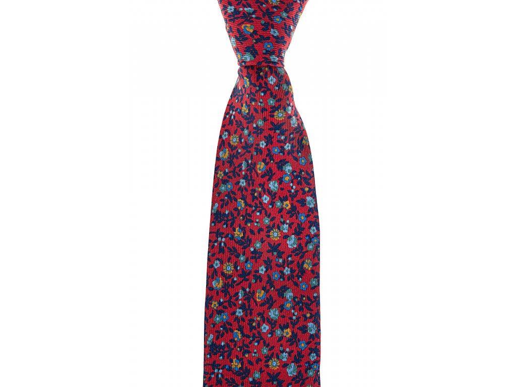 Červená twin kravata květovaná