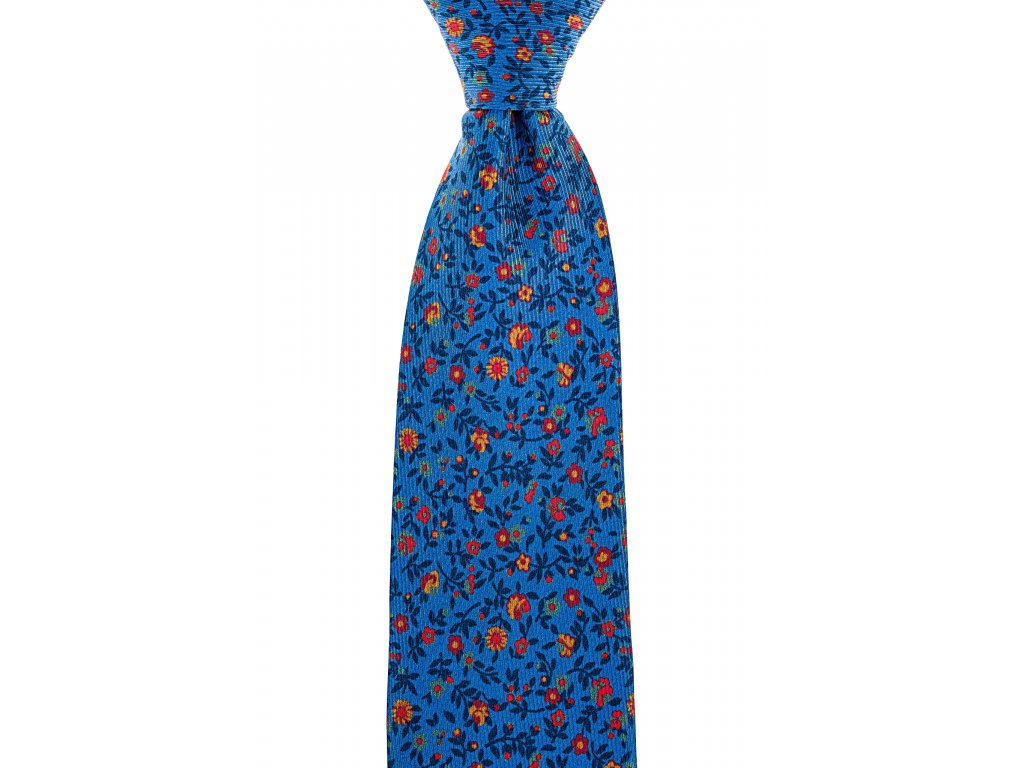Modrá twin kravata květovaná