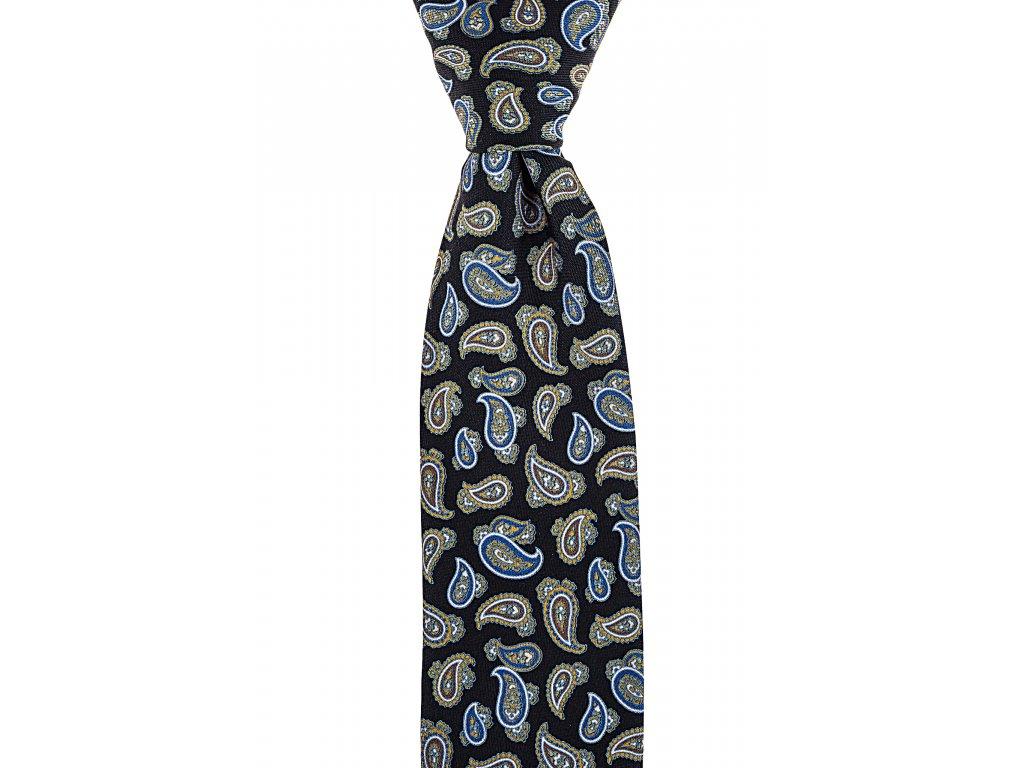 Černá twin kravata s paisley vzorem