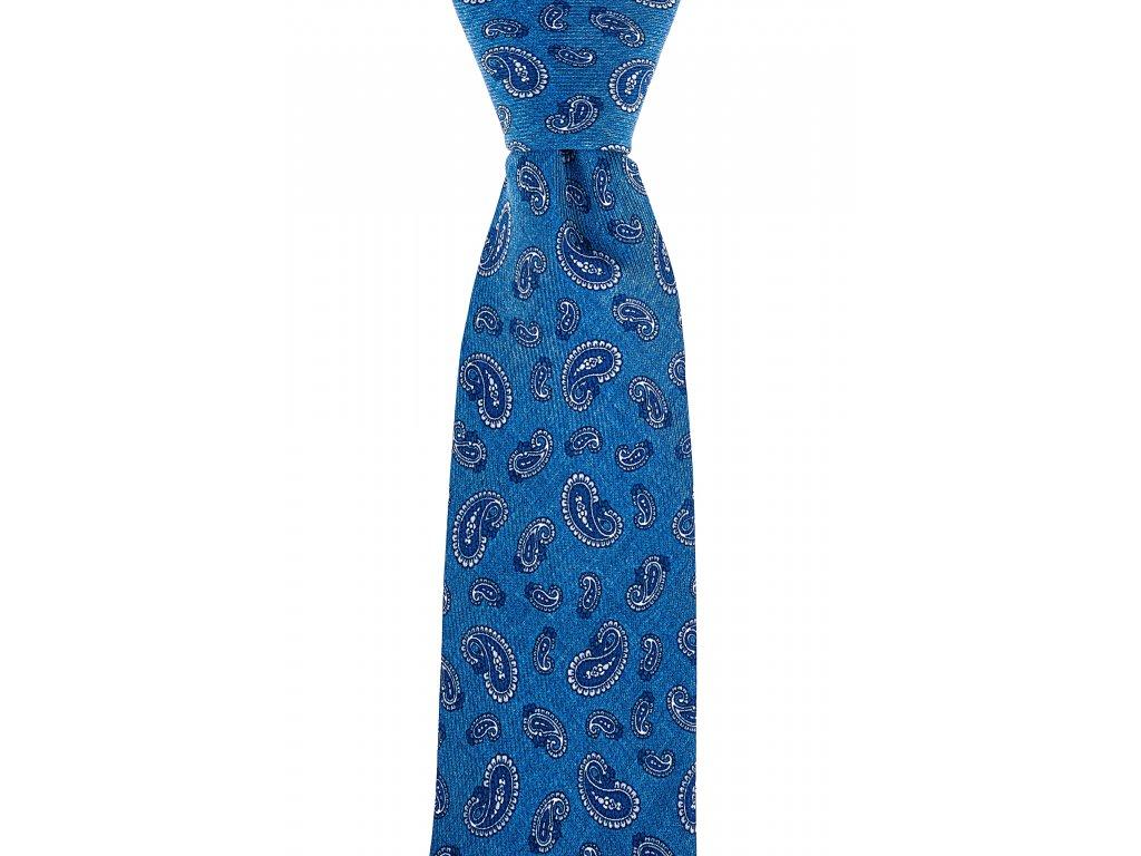 Modrá twin kravata s paisley vzorem