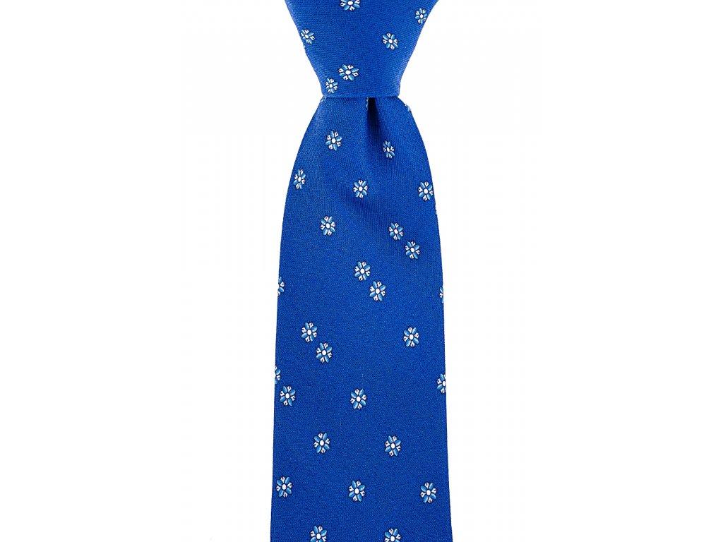 Modrá twin kravata s kvítky