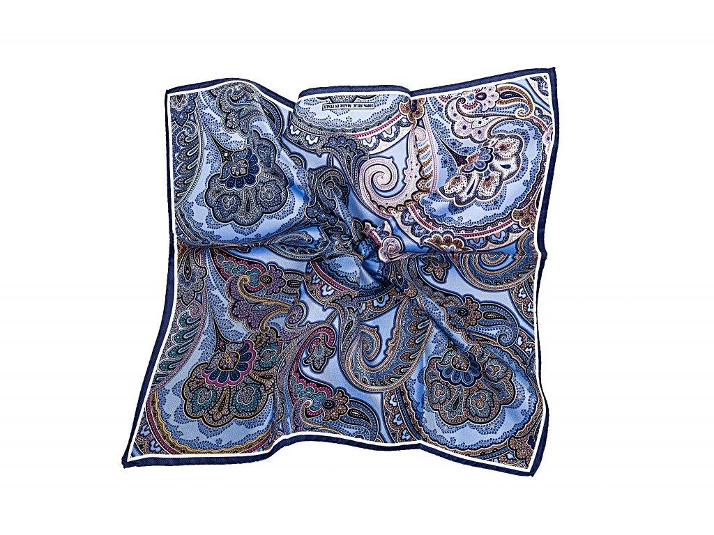 Modrý kapesníček s ornamentem