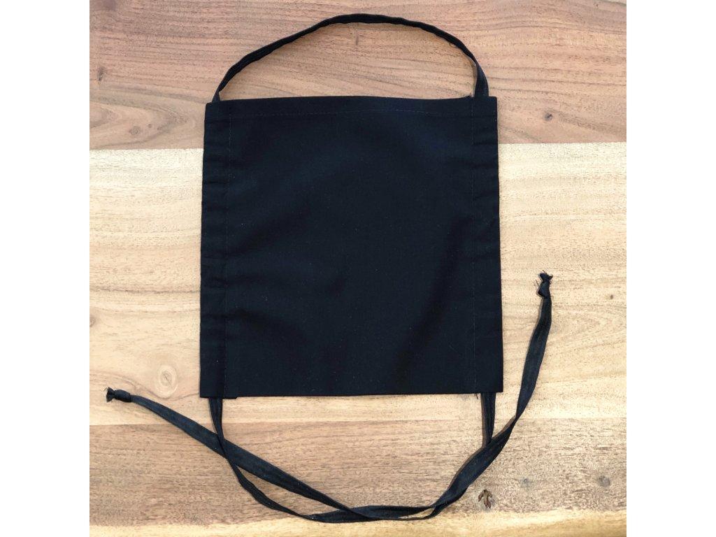 Bavlněná dvouvrstvá rouška se šňůrkami a kapsou na filtr