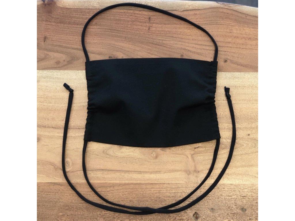 Bavlněná dvouvrstvá rouška s kapsou na filtr ČERNÁ