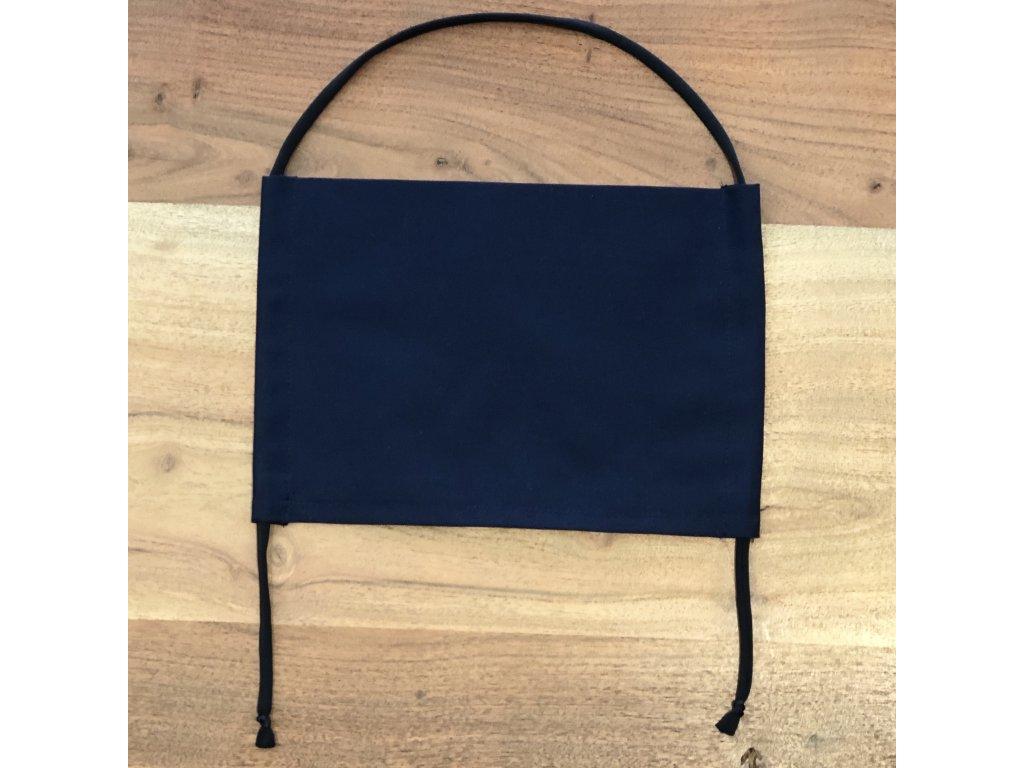 Bavlněná dvouvrstvá rouška s kapsou na filtr TMAVĚ MODRÁ