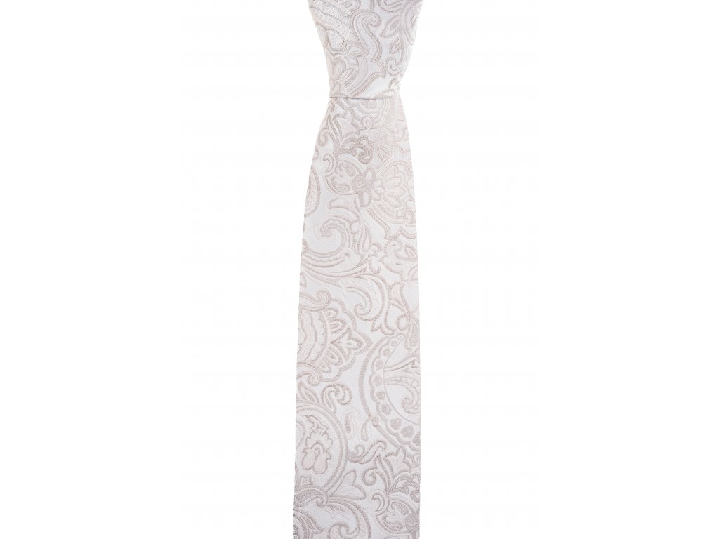 Krémová kravata s paisley vzorem