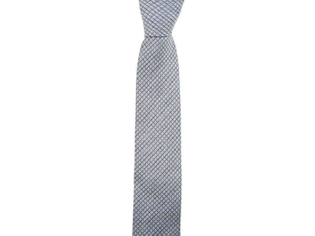 Modrobéžová kravata s drobným vzorem
