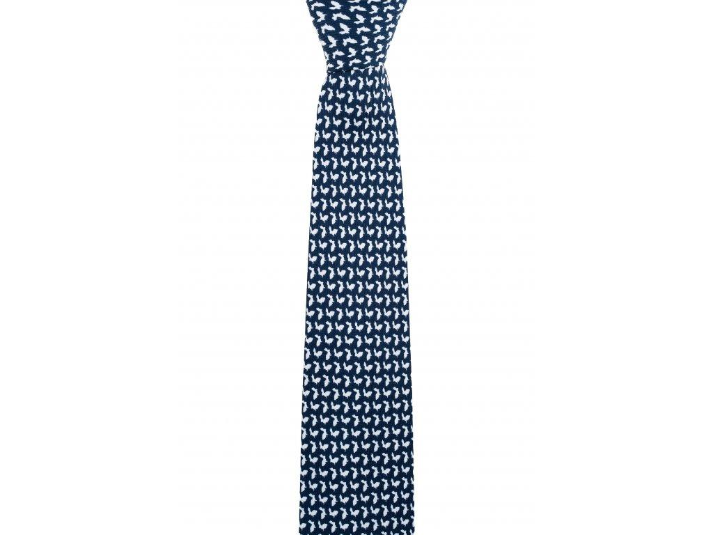 Tmavě modrá twin kravata s králíky