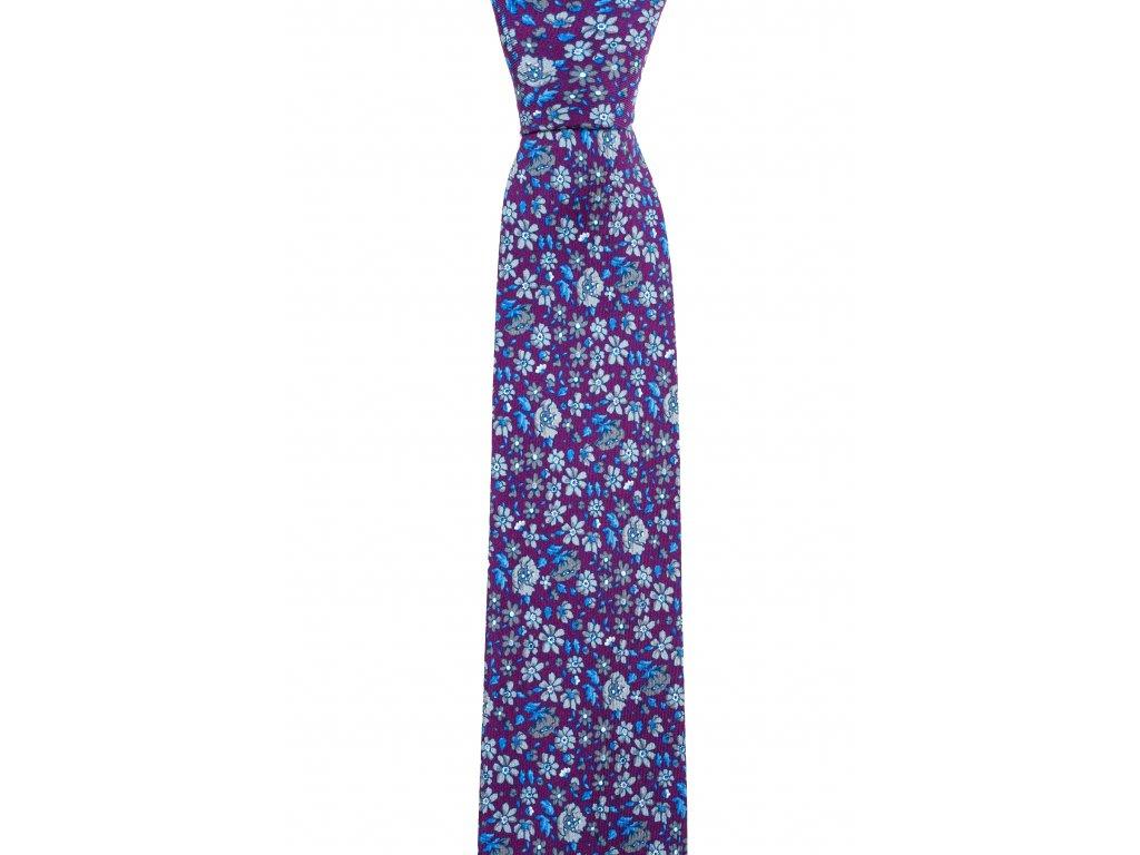 Fialová twin kravata s květinami