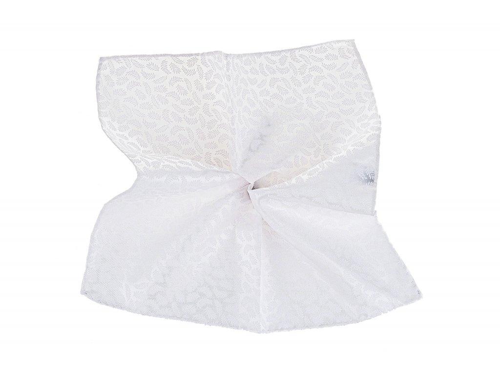 Bílý kapesníček s listy