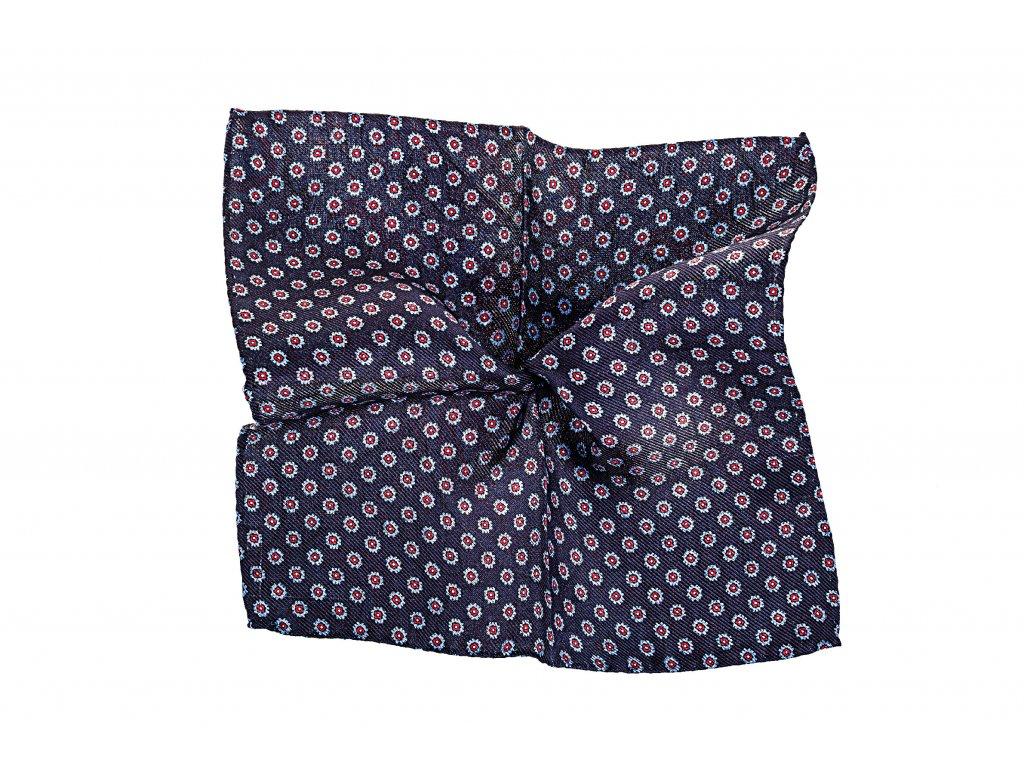 Tmavě modrý kapesníček oboustranný s květy