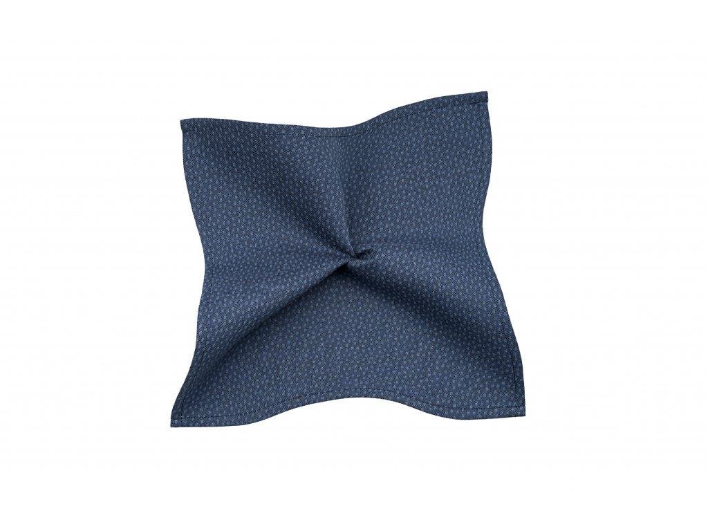 Tmavě modrý kapesníček s puntíkem