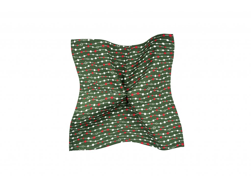 Zelený kapesníček s vánočním motivem