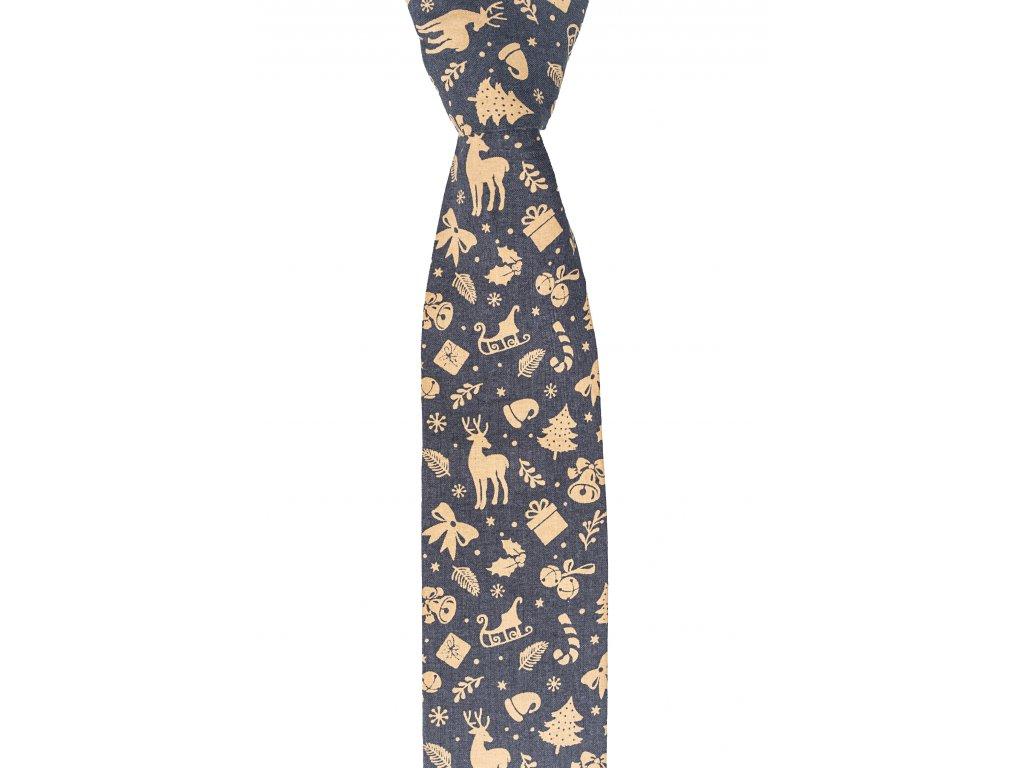 Šedá twin kravata s vánočním motivem