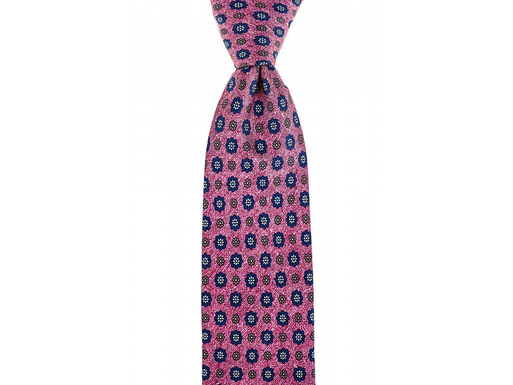 Růžová twin kravata s velkými květy