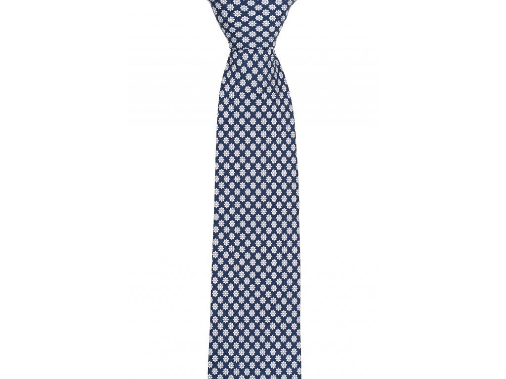 Tmavě modrá twin kravata s šedými kvítky