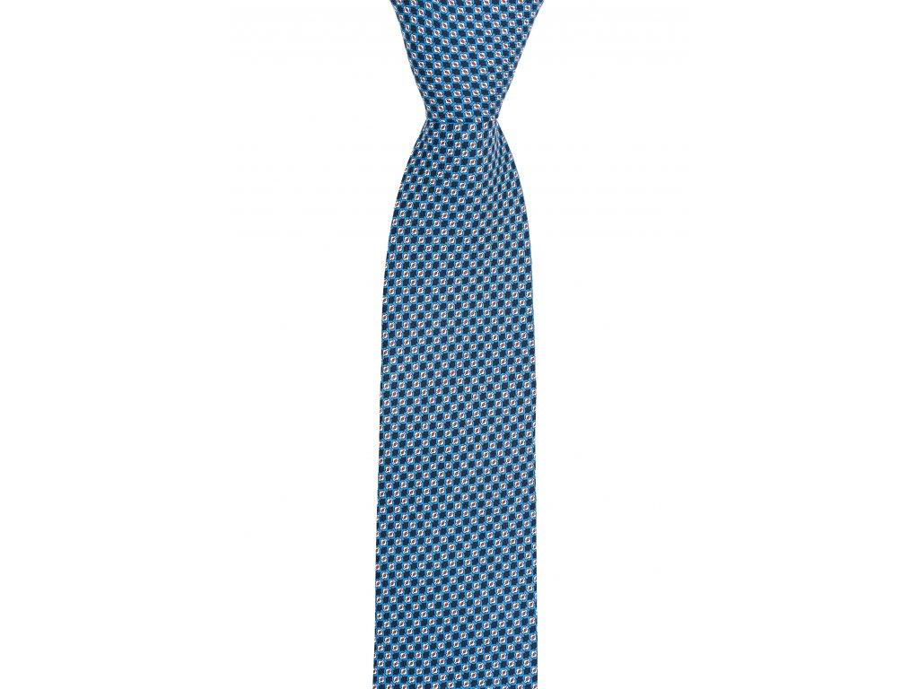 Modrá twin kravata s červeno-bílým vzorem