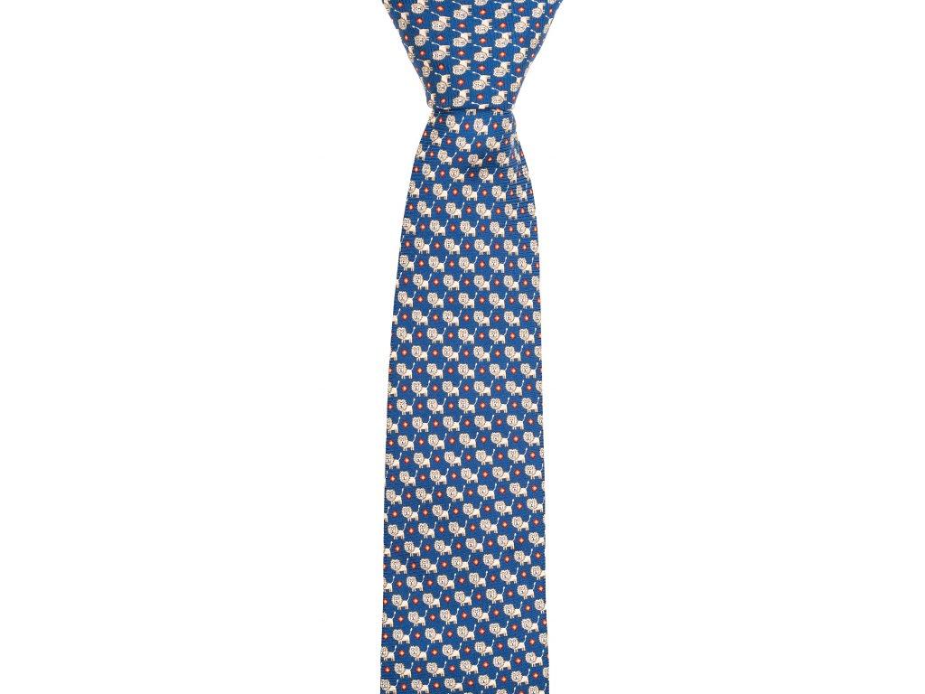 Tmavě modrá twin kravata se lvy