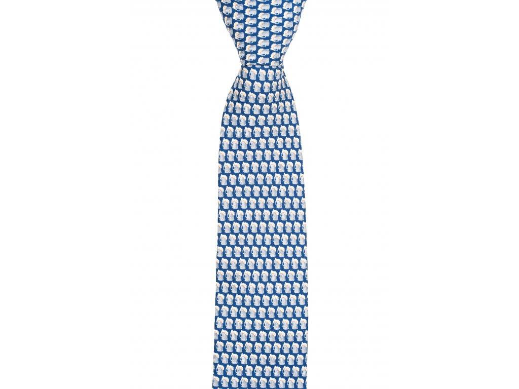 Tmavě modrá twin kravata s pivem