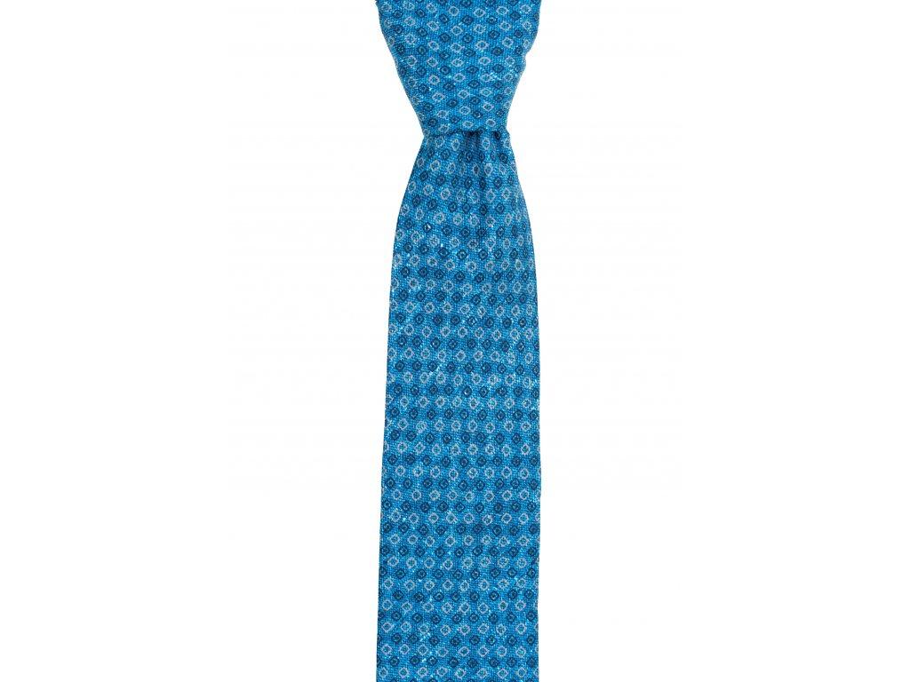 Modrá twin kravata s modro-béžovým vzorem