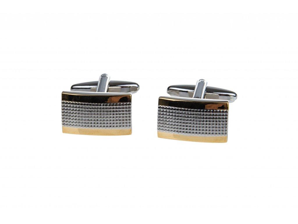 Obdélníkové manžetové knoflíčky stříbrno-zlaté se vzorem