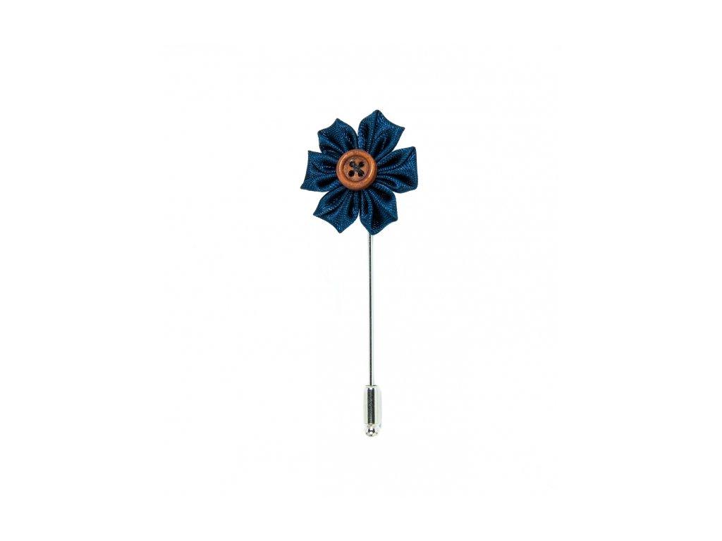 Modrá saténová květina do klopy