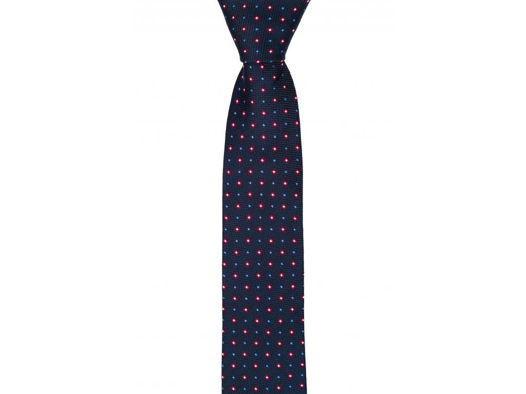 Tmavě modrá kravata s červenými čtverečky