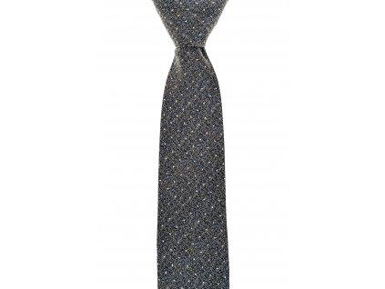 Šedá kravata s bílými puntíky