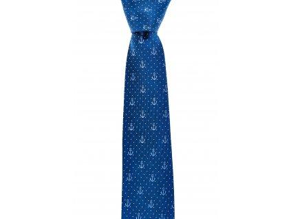 Modrá kravata s kotvami