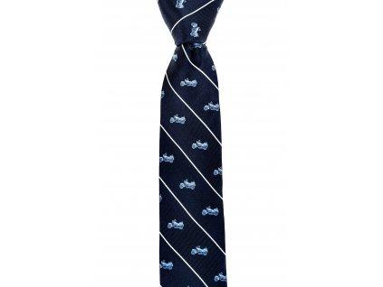 Tmavě modrá kravata s bílými pruhy a motorkami