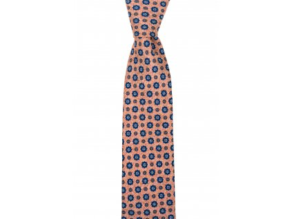 Světle oranžová twin kravata s velkými květy