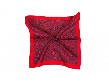 Červený kapesníček s modrými kvítky a okrajem