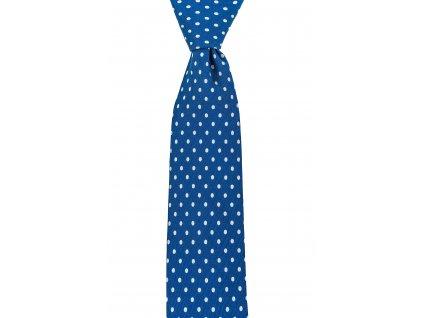 Modrá twin kravata s puntíky