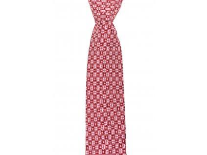 Červená twin kravata s květinovým vzorem
